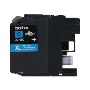 Brother LC103C original ink cartridge, high capacity yield, cyan, 600 pages