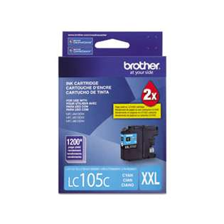 Brother LC105C original ink cartridge, super high capacity yield, cyan, 1200 pages