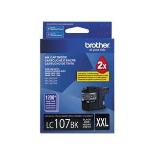 Brother LC107BK original ink cartridge, super high capacity yield, black, 1200 pages