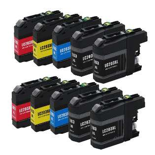 Compatible Brother LC203 ink cartridges, high capacity yield, 10 pack