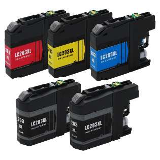 Compatible Brother LC203 ink cartridges, high capacity yield, 5 pack