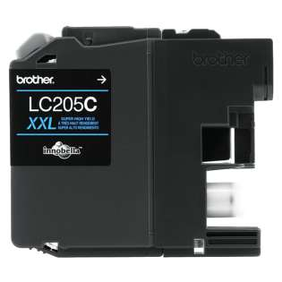 Brother LC205C original ink cartridge, super high capacity yield, cyan, 1200 pages