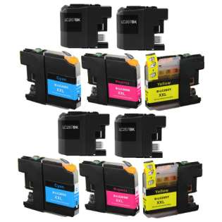 Compatible Brother LC207, LC205 ink cartridges, super high capacity yield, 10 pack