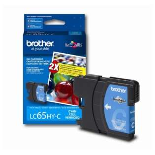 Brother LC65HYC original ink cartridge, high yield, cyan