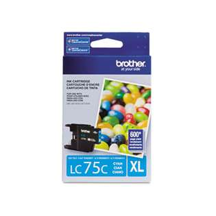Brother LC75C original ink cartridge, high capacity yield, cyan