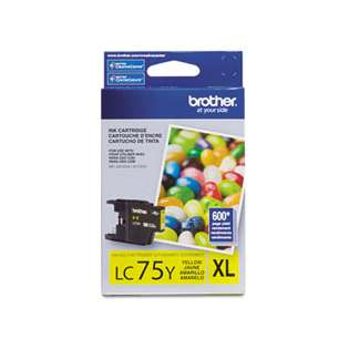 Brother LC75Y original ink cartridge, high capacity yield, yellow
