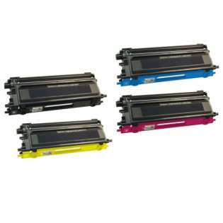 Compatible Brother TN115BK, TN115C, TN115M, TN115Y toner cartridges, high capacity yield (pack of 4)