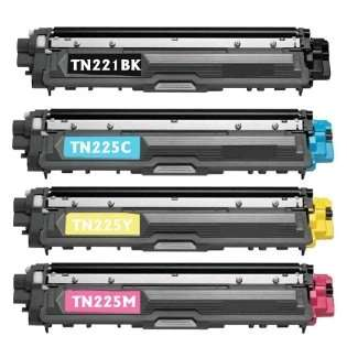 Compatible Brother TN221BK, TN225C, TN225M, TN225Y toner cartridges (pack of 4)