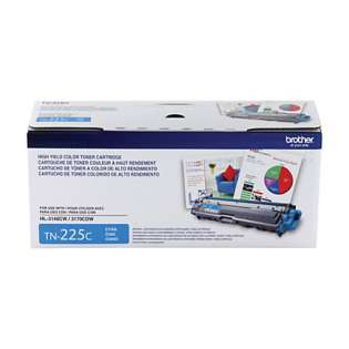 Brother TN225C Genuine Original (OEM) laser toner cartridge, 2200 pages, high capacity yield, cyan
