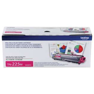 Brother TN225M Genuine Original (OEM) laser toner cartridge, 2200 pages, high capacity yield, magenta