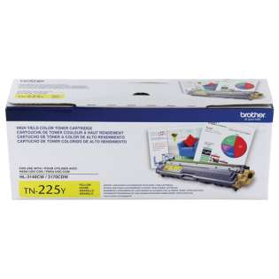 Brother TN225Y Genuine Original (OEM) laser toner cartridge, 2200 pages, high capacity yield, yellow