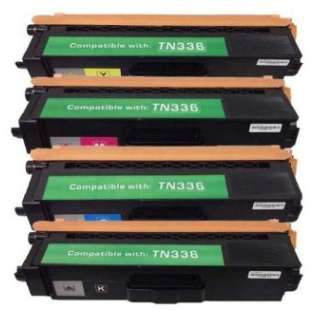 Compatible Brother TN336BK, TN336C, TN336M, TN336Y toner cartridges (pack of 4)