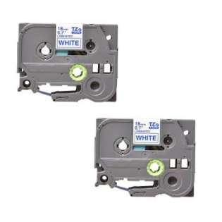 Compatible label tape for Brother TZe-243 - blue on white - 2-pack