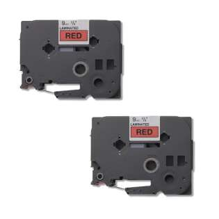 Compatible label tape for Brother TZe-421 - black on red - 2-pack