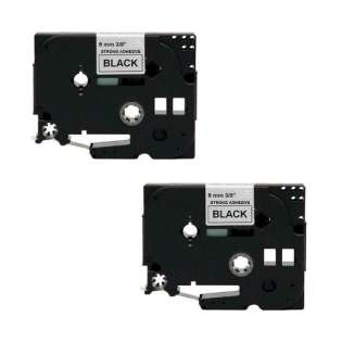 Compatible label tape for Brother TZe-S221 - black on white - 2-pack