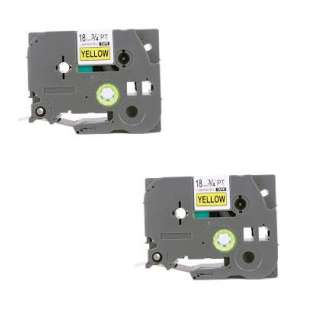 Compatible label tape for Brother TZe-S641 - black on yellow - 2-pack