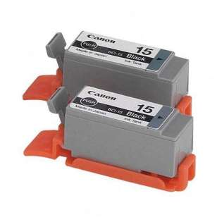 Canon BCI-15Bk Genuine Original (OEM) ink cartridges (pack of 2)