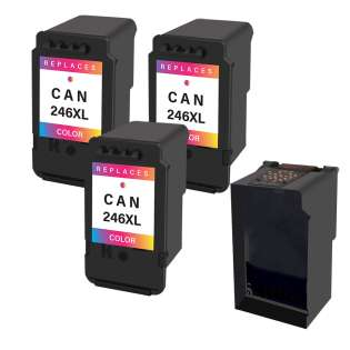 3 Plug-In Cartridges for Canon CL-246XL (Color, 3-Plugins with an OEM printhead)