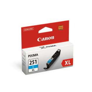 Canon CLI-251C XL Genuine Original (OEM) ink cartridge, high capacity yield, cyan, 300 pages