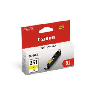 Canon CLI-251Y XL Genuine Original (OEM) ink cartridge, high capacity yield, yellow, 300 pages
