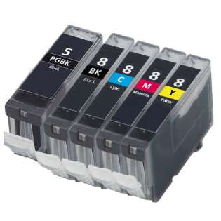 Compatible Canon CLI-8, PGI-5 ink cartridges (contains 5 cartridges)