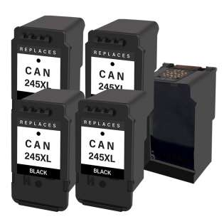 4 Plug-In Cartridges for Canon PG-245XL (Black, 4-Plugins with an OEM printhead)