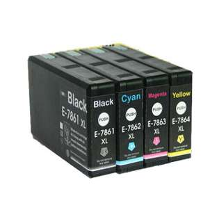 4 Pack Epson 786XL Remanufactured Ink Cartridges: 1 Each of Black, Cyan, Magenta, & Yellow