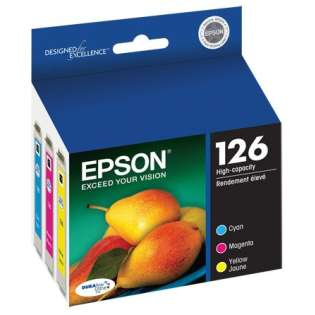 Epson 126 Genuine Original (OEM) ink cartridges, high capacity yield (pack of 3)
