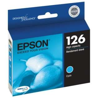 Epson 126, T126220 Genuine Original (OEM) ink cartridge, high capacity yield, cyan