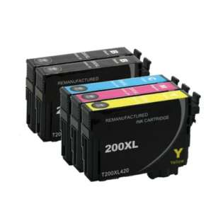 Remanufactured Epson 200XL ink cartridges, high capacity yield, 5 pack