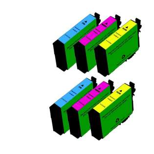 Remanufactured Epson 252XL ink cartridges, high capacity yield, 6 pack
