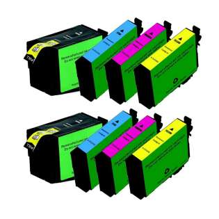 Remanufactured Epson 252XL ink cartridges, high capacity yield, 8 pack