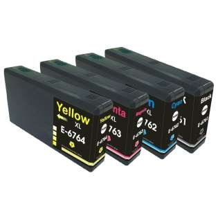 Remanufactured Epson 676XL ink cartridges, high capacity yield (pack of 4)