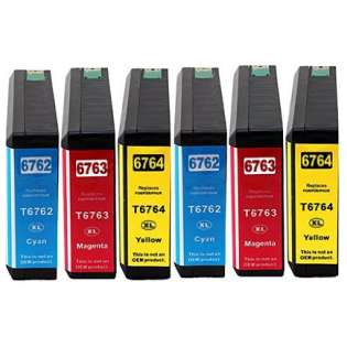 Remanufactured Epson 676XL ink cartridges, high capacity yield, 6 pack