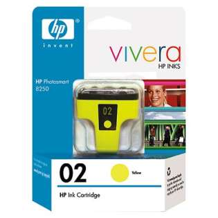 HP 02, C8773WN Genuine Original (OEM) ink cartridge, high capacity yield, yellow