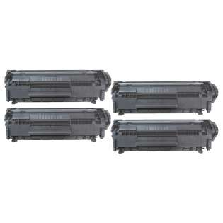 Compatible HP 12X, Q2612X toner cartridges, high capacity yield (pack of 4)