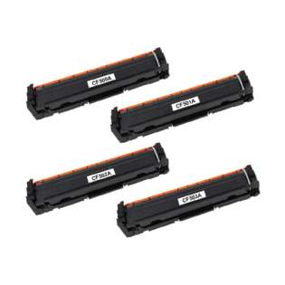 Compatible HP CF500A / CF501A / CF503A / CF502A (202A) toner cartridges - Pack of 4