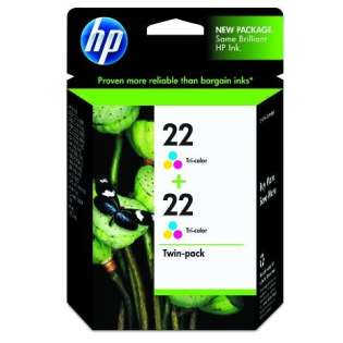 HP 22, CC580FN Genuine Original (OEM) ink cartridges, tri-color (pack of 2)