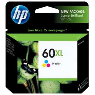 HP 60XL, CC644WN Genuine Original (OEM) ink cartridge, high capacity yield, tri-color