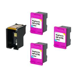 3 Plug-In Cartridges for HP 67XL (Color, 3-Plugins with an OEM printhead)