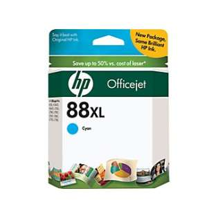 HP 88XL, C9391AN Genuine Original (OEM) ink cartridge, high capacity yield, cyan