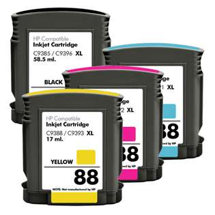 Remanufactured HP 88XL ink cartridges, high capacity yield (pack of 4)