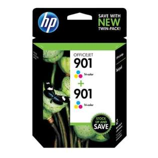 HP 901, CZ076FN Genuine Original (OEM) ink cartridges, tri-color (pack of 2)