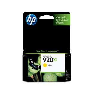 HP 920XL, CD974AN Genuine Original (OEM) ink cartridge, high capacity yield, yellow