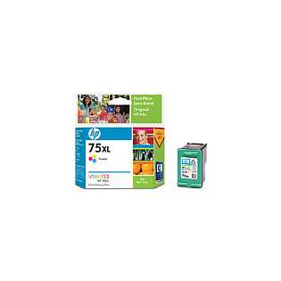 HP 75XL, CB338WN Genuine Original (OEM) ink cartridge, high capacity yield, tri-color