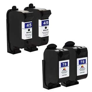 Remanufactured HP 45, 78 ink cartridges (pack of 4)