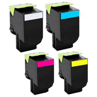 Remanufactured Lexmark C540H1KG, C540H1CG, C540H1MG, C540H1YG toner cartridges - (pack of 4)