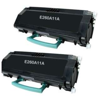 Replacement for Lexmark E260A11A toner cartridges - high capacity - 2-pack