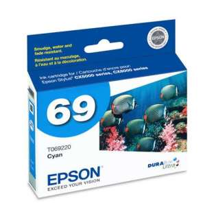 Epson 69, T069220 Genuine Original (OEM) ink cartridge, cyan